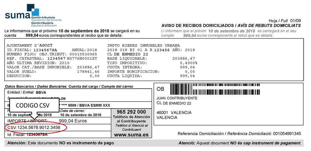 Example of direct debit notice